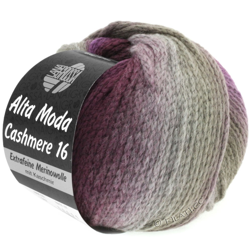 Lana Grossa ALTA MODA CASHMERE 16 Degradé | 102-taupe/brombær/violet