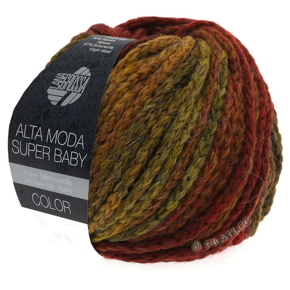 Lana Grossa ALTA MODA SUPER BABY  Color | 302-mørkerød/sennep/teglstensrød/brun