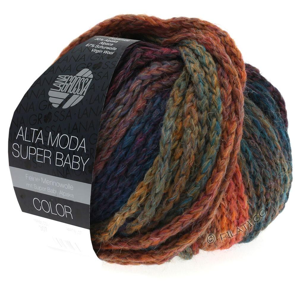 Lana Grossa ALTA MODA SUPER BABY  Color | 304-kobber/sennep/petrol/mørkeblå/violet