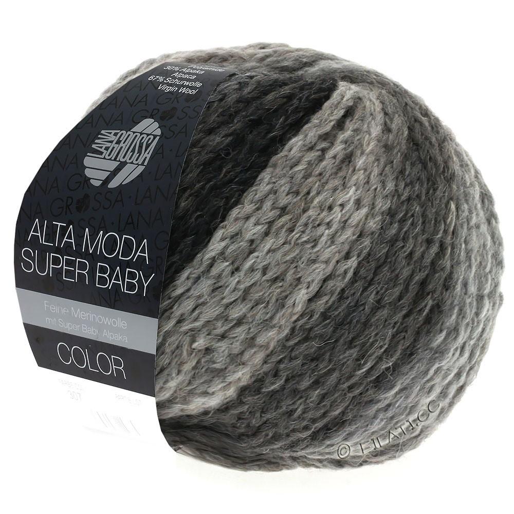 Lana Grossa ALTA MODA SUPER BABY  Color | 308-lysegrå/mørkegrå/antracit