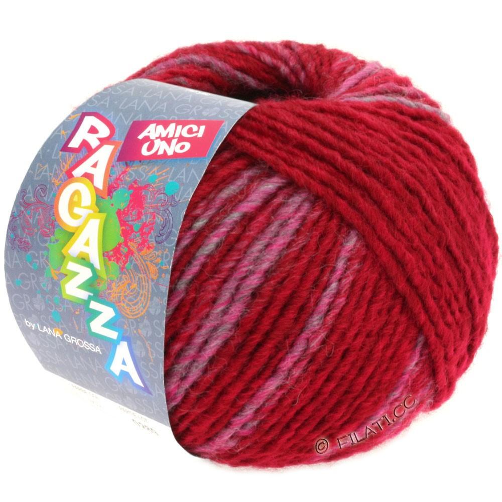 Lana Grossa AMICI UNO (Ragazza) | 305-vinrød/pink/grå