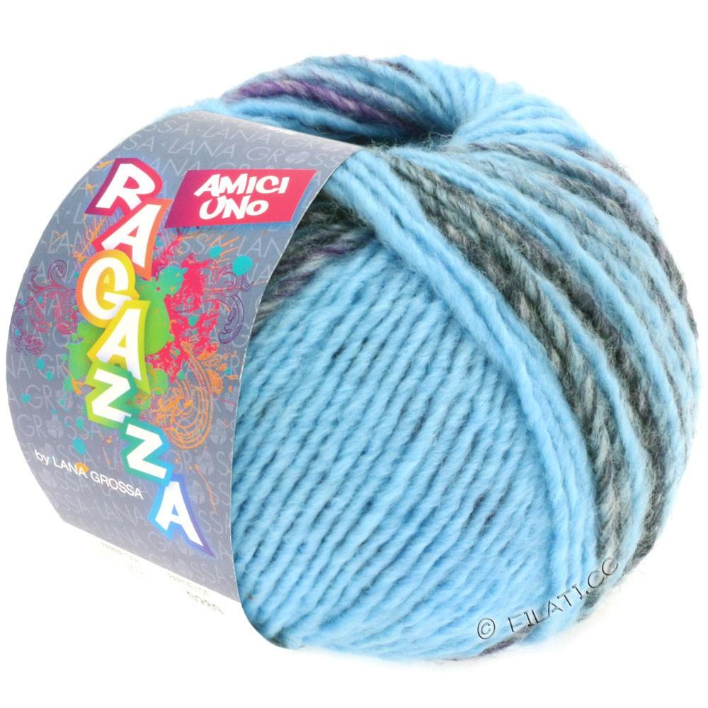 Lana Grossa AMICI UNO (Ragazza) | 310-lyseblå/purpur/antracit/brun/blå