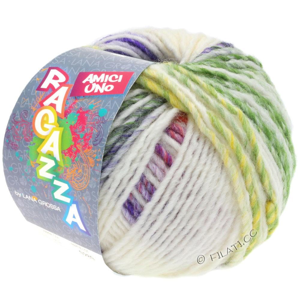 Lana Grossa AMICI UNO (Ragazza) | 313-rå hvid/violet/gammelrosa/grøn/sennep