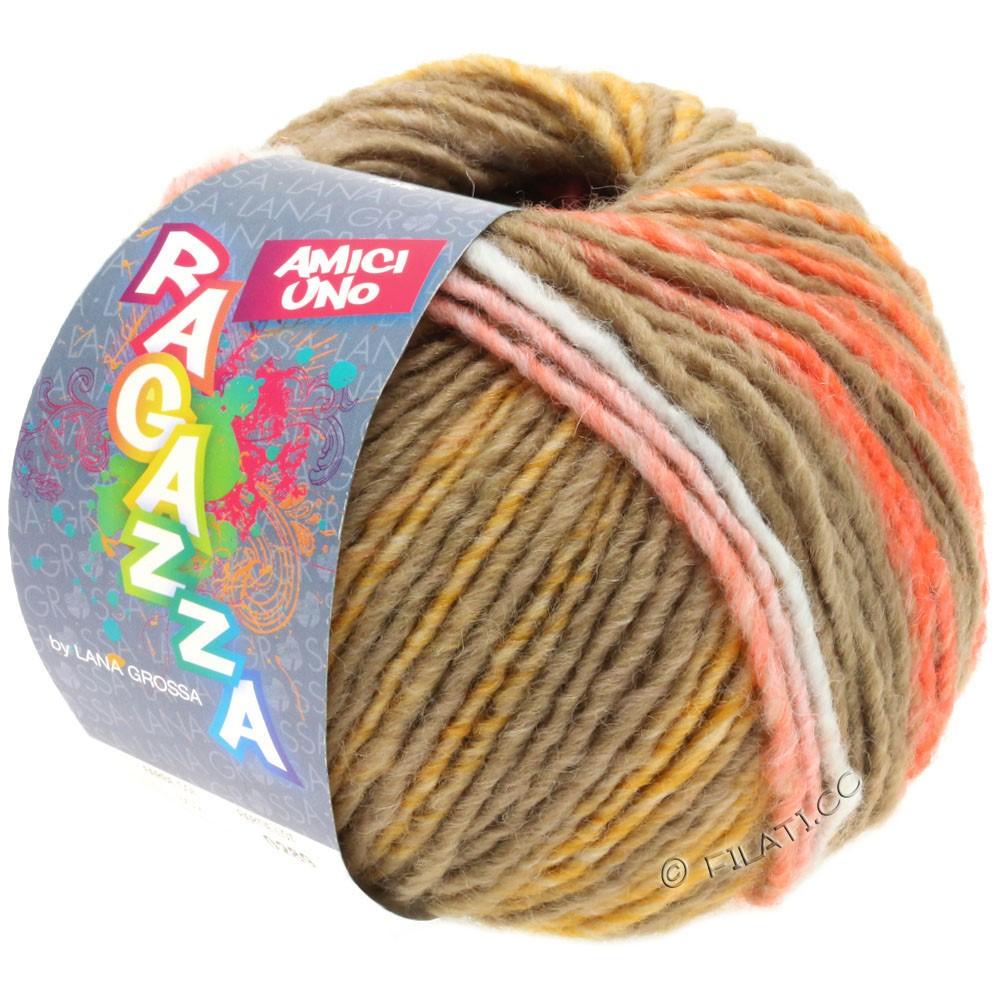 Lana Grossa AMICI UNO (Ragazza) | 315-taupe/orange/hindbær/sennep
