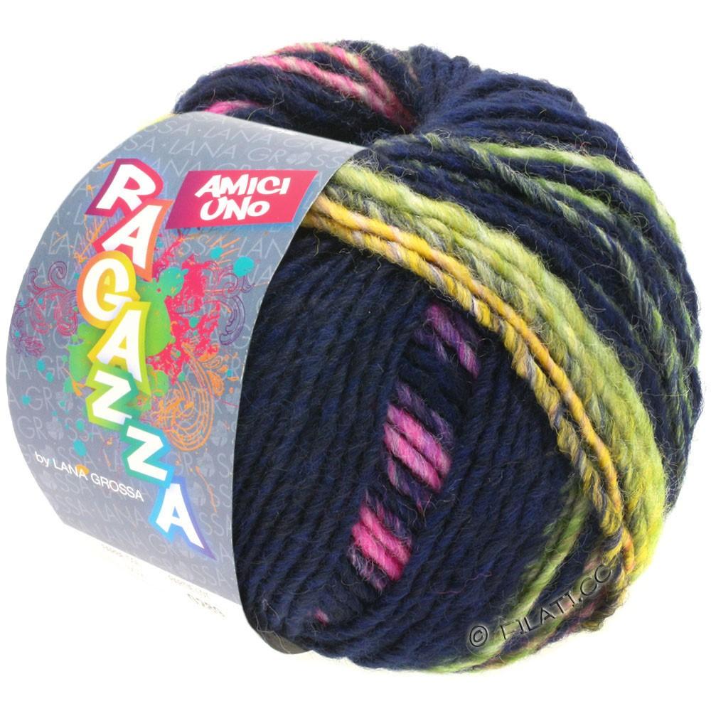 Lana Grossa AMICI UNO (Ragazza) | 316-natblå/gul/pink/purpur/lysegrøn