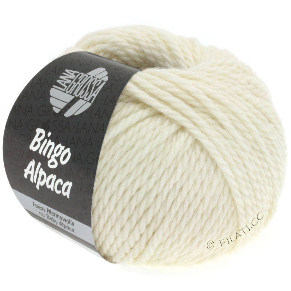 Lana Grossa BINGO ALPACA Uni | 01-rå hvid