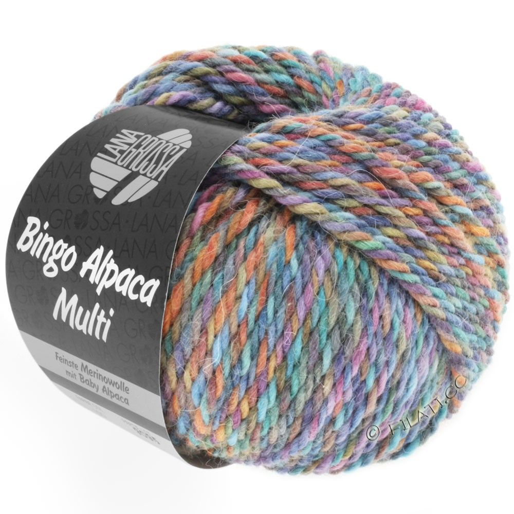 Lana Grossa BINGO ALPACA Multi | 105-turkis/ruste/lilla/violet/brun
