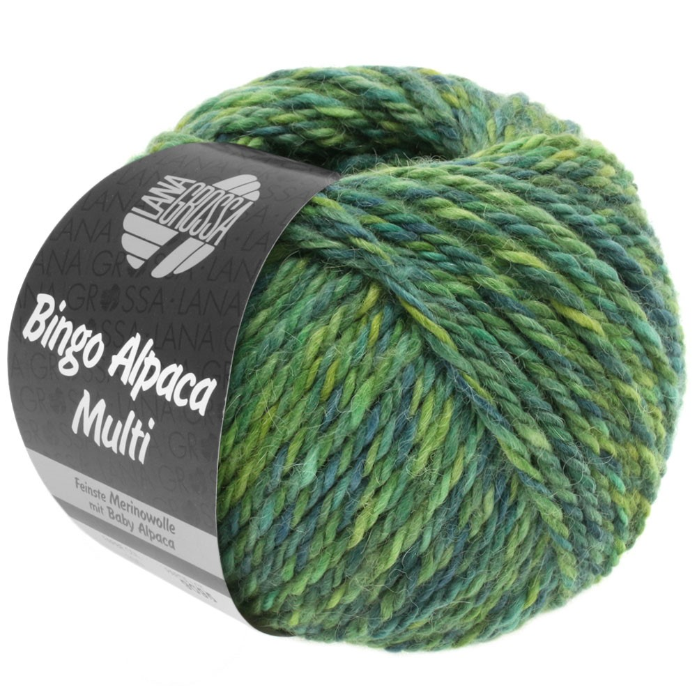 Lana Grossa BINGO ALPACA Multi | 109-gulgrøn/resedagrøn/petrol/hø grøn