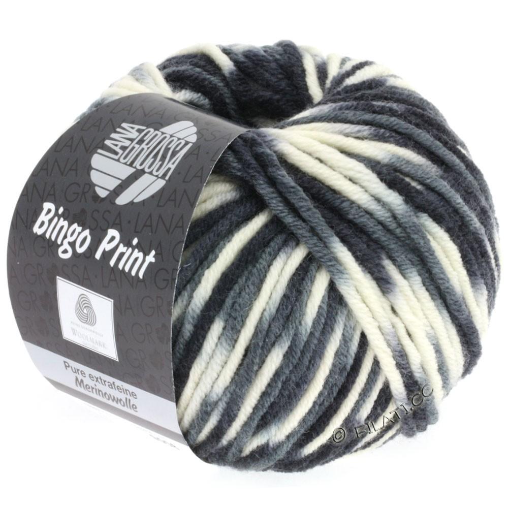 Lana Grossa BINGO Print | 310-hvid/lysegrå/mørkegrå/sort