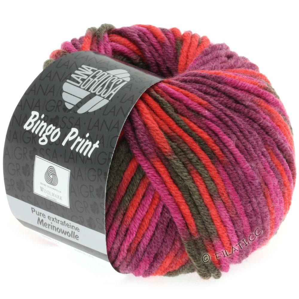 Lana Grossa BINGO Print | 345-rød/pink/cyklamen/gråbrun