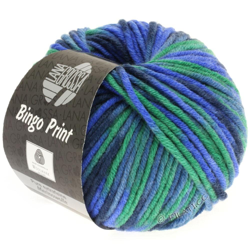 Lana Grossa BINGO Print | 353-blå/smaragd/marine/gråblå