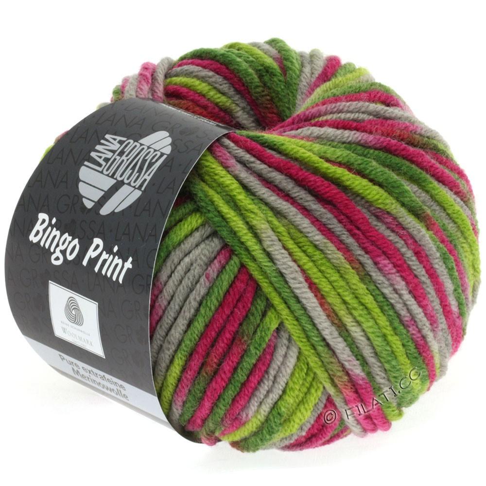 Lana Grossa BINGO Print | 360-lysoliven/mørkoliven/grå/fuchsia