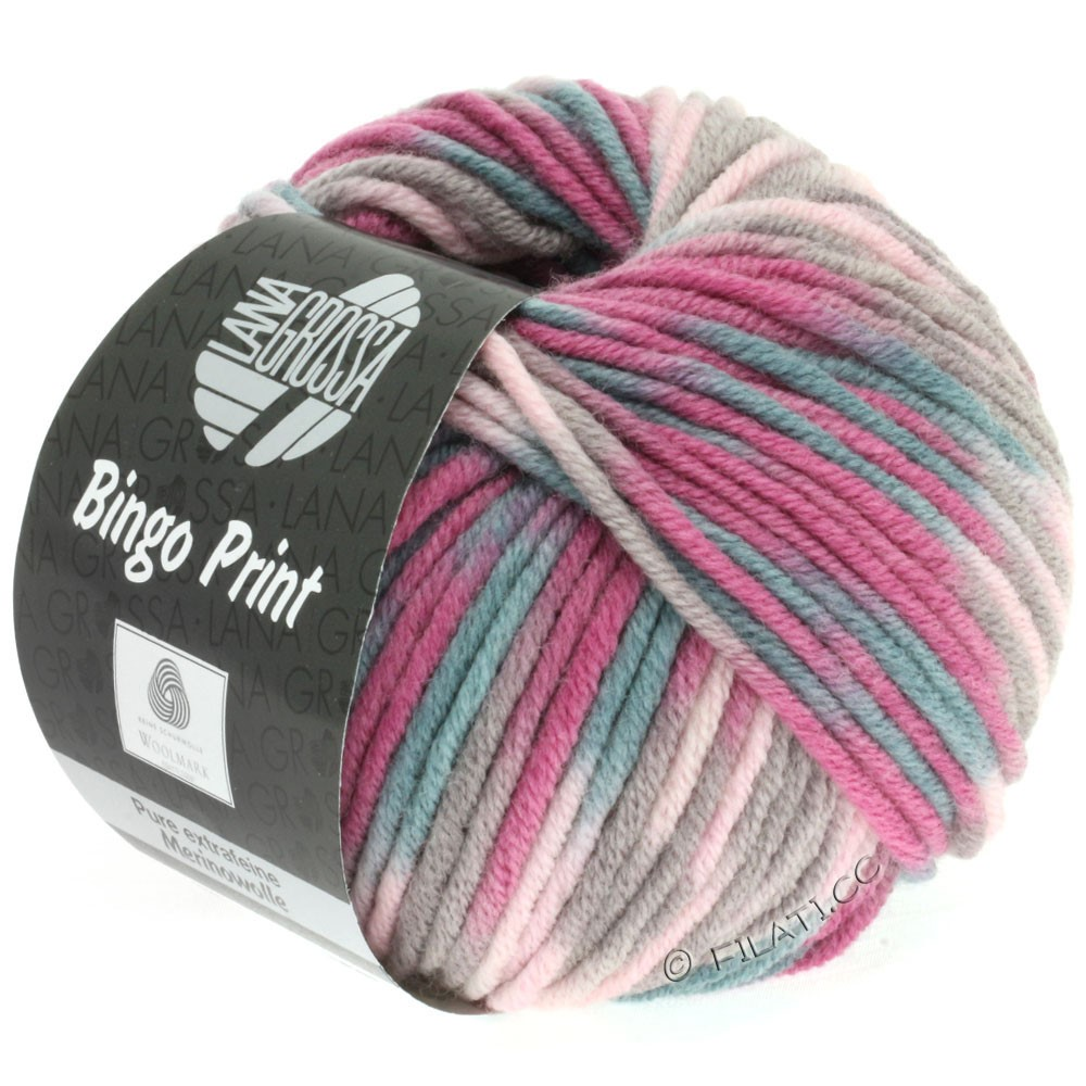 Lana Grossa BINGO Print | 361-rosa/lyng/gråbeige/grågrøn