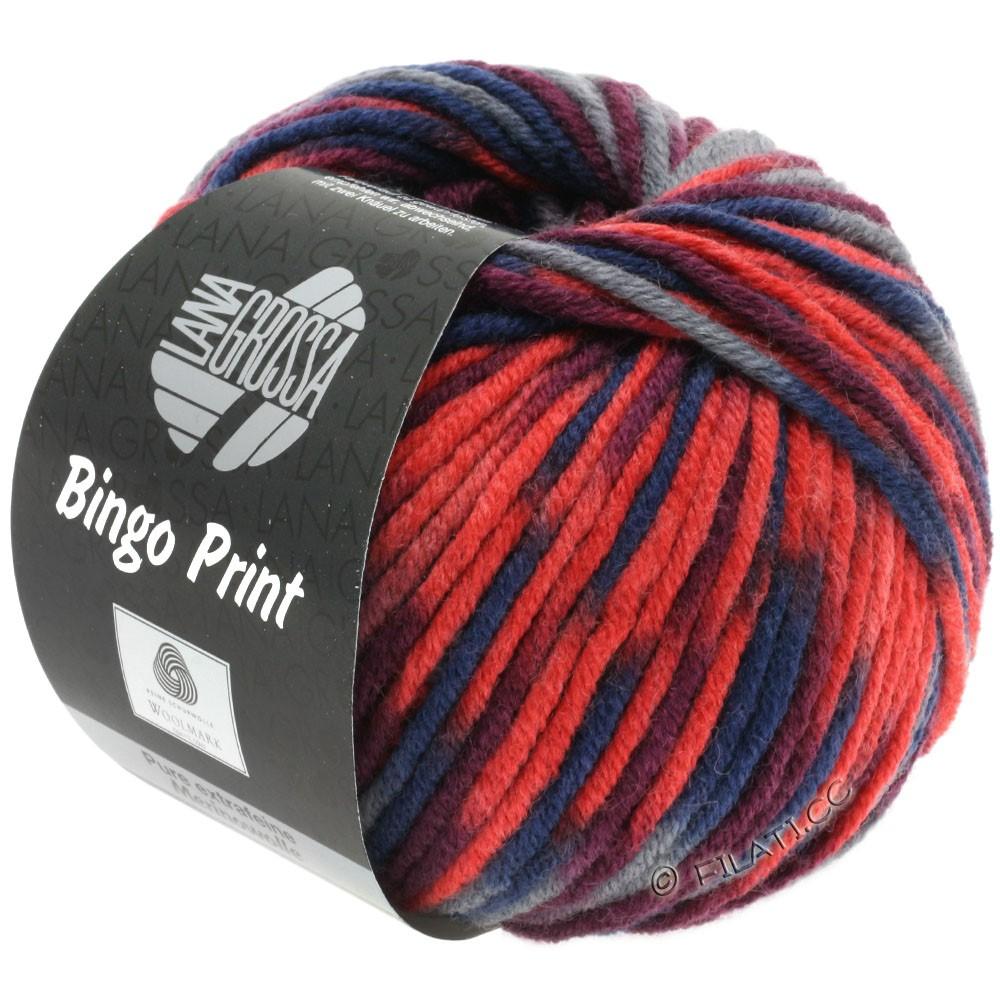 Lana Grossa BINGO Print | 363-refleksrød/mandarin/bordeaux/mørkegrå