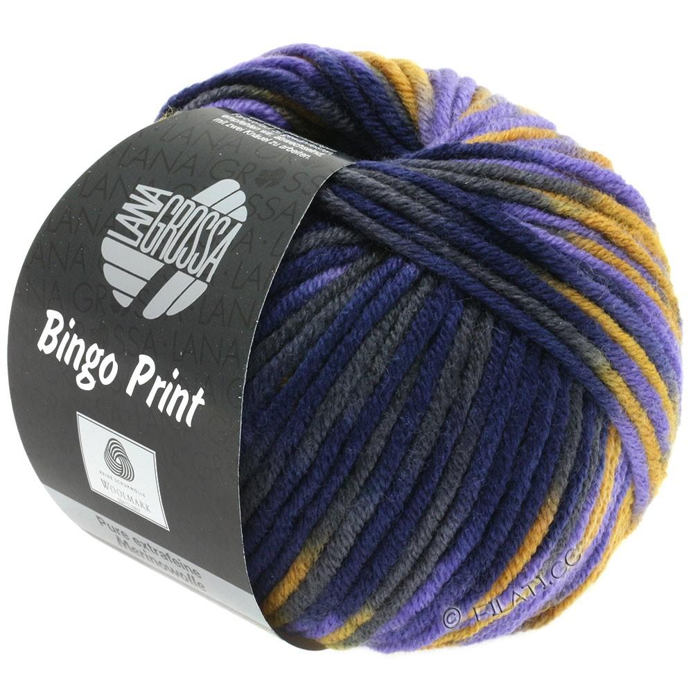 Lana Grossa BINGO Print | 364-okkergul/violet/natblå/antracit