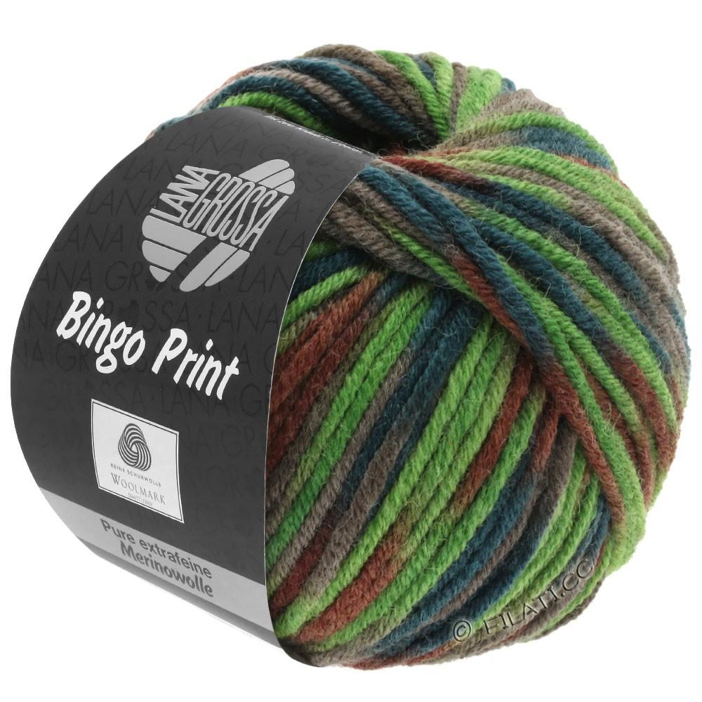 Lana Grossa BINGO Print | 368-lysegrøn/kaki/marone/mørkegrøn