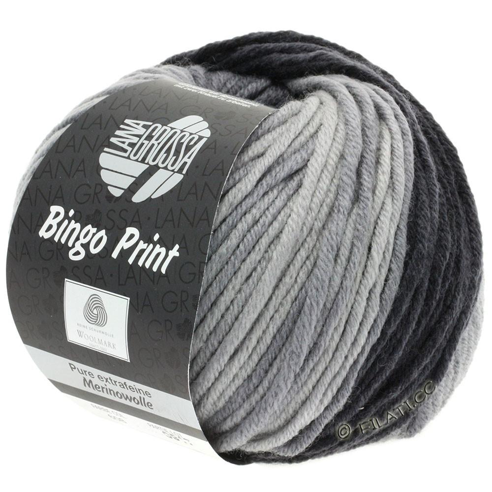 Lana Grossa BINGO Print | 608-gennemsnit grå/mørkegrå/antracit