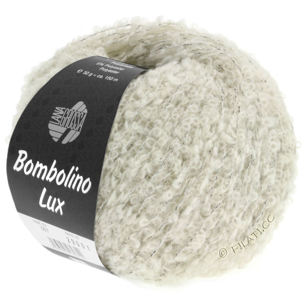 Lana Grossa BOMBOLINO Lux | 006-rå hvid/sølv