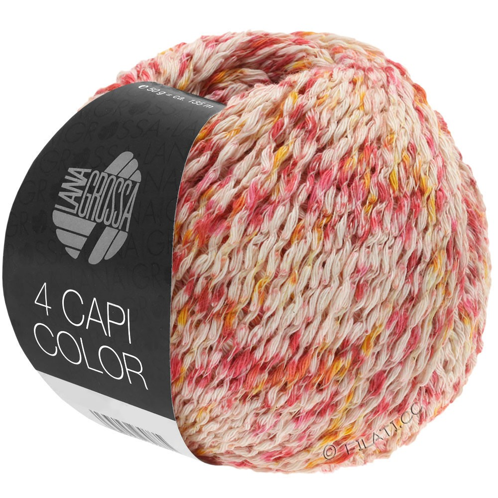 Lana Grossa 4 CAPI Color | 105-natur/rød/solgul/pink