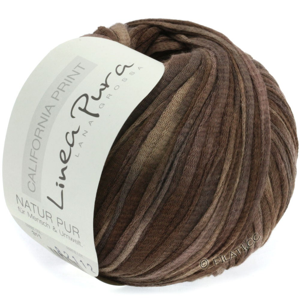 Lana Grossa CALIFORNIA Uni/Print (Linea Pura) | 311-gråbrun/mokka