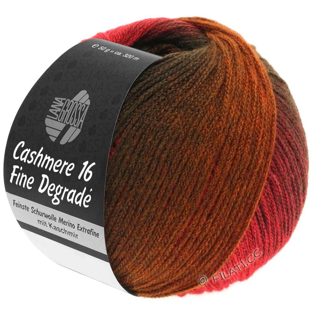 Lana Grossa CASHMERE 16 FINE Uni/Degradé | 105-mørkerød/lys rød/chokoladebrun