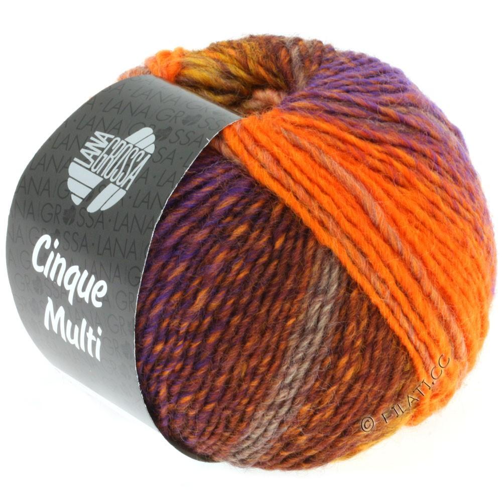Lana Grossa CINQUE MULTI | 04-majsgul/brun/orange/lilla/sennep meleret