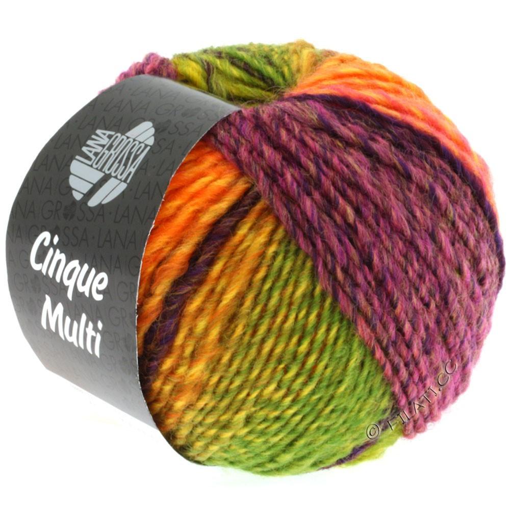 Lana Grossa CINQUE MULTI | 05-brombær/blå/rød/orange/gul/lysegrøn meleret