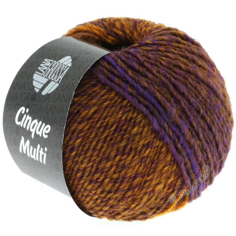 Lana Grossa CINQUE MULTI | 06-blå/brun/okker/mørkebrun/purpur meleret