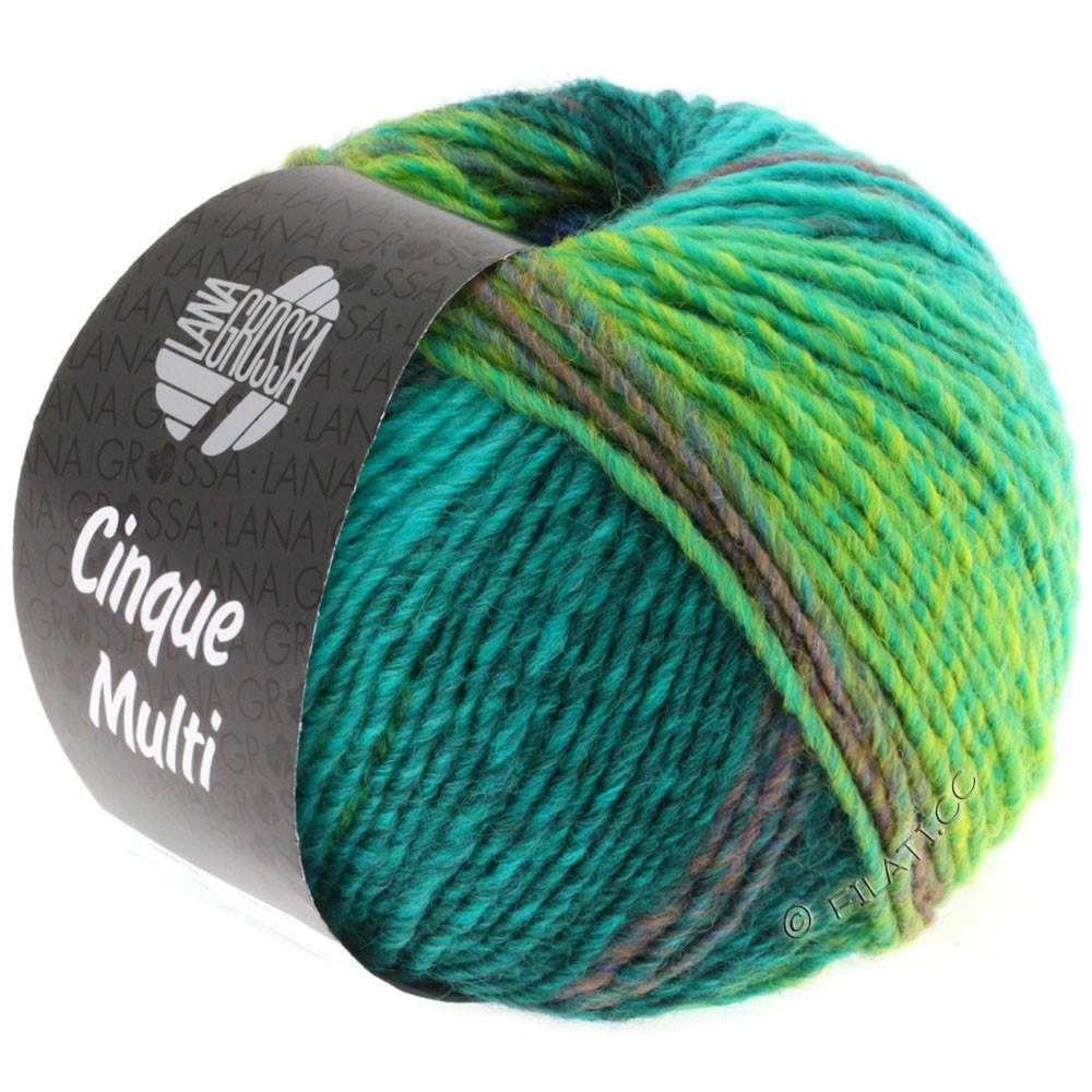 Lana Grossa CINQUE MULTI | 08-blå/turkis/petrol/mørkegrøn/sennep meleret