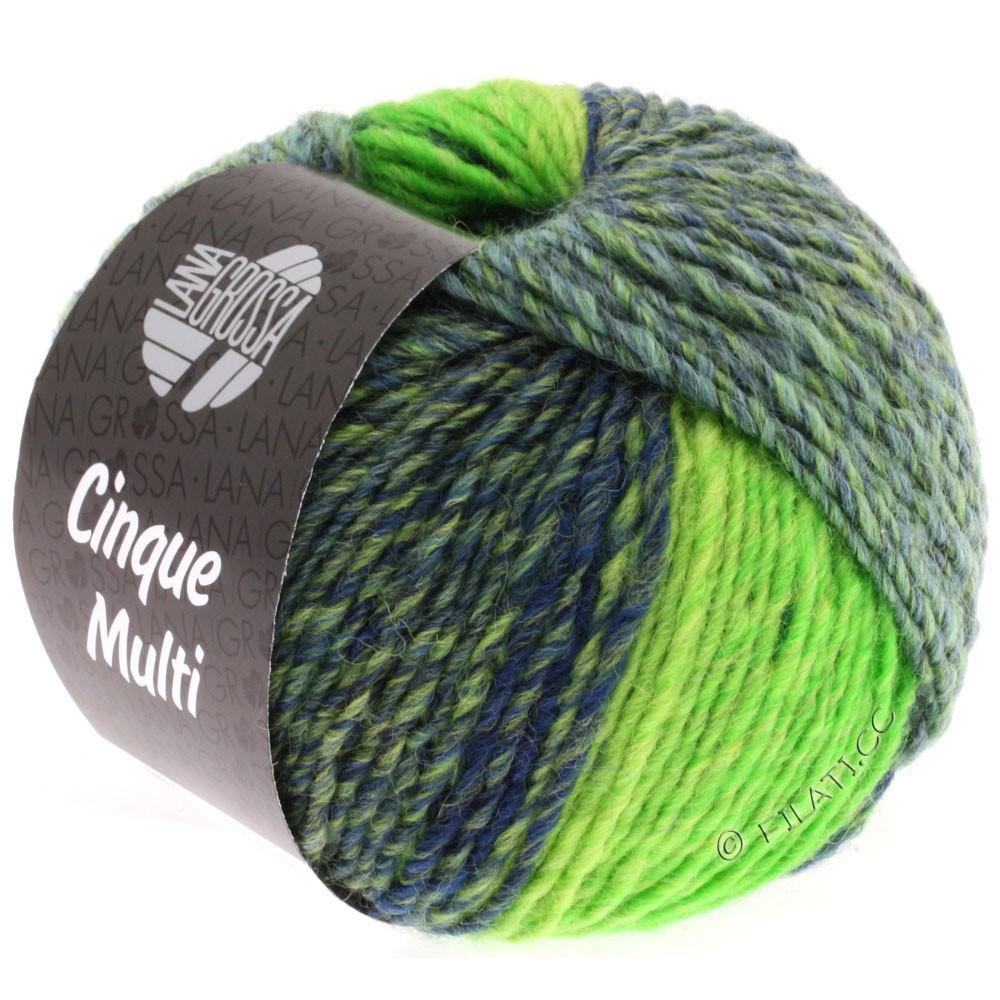 Lana Grossa CINQUE MULTI | 09-sortblå/petrol/bilious grøn/grøn meleret