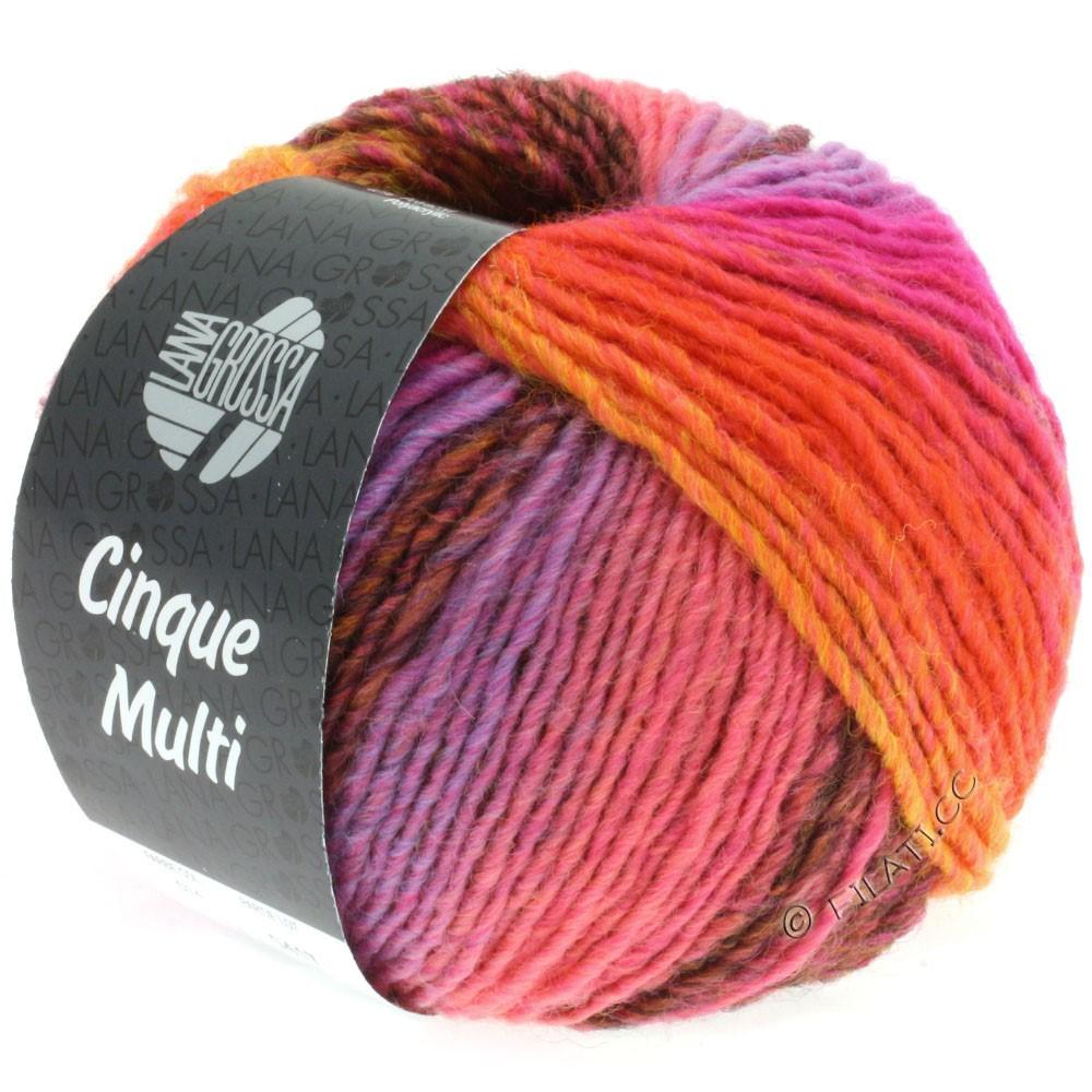 Lana Grossa CINQUE MULTI | 14-mørkerød/rødbrun/mokka/orange/pink/purpur/lys rød meleret