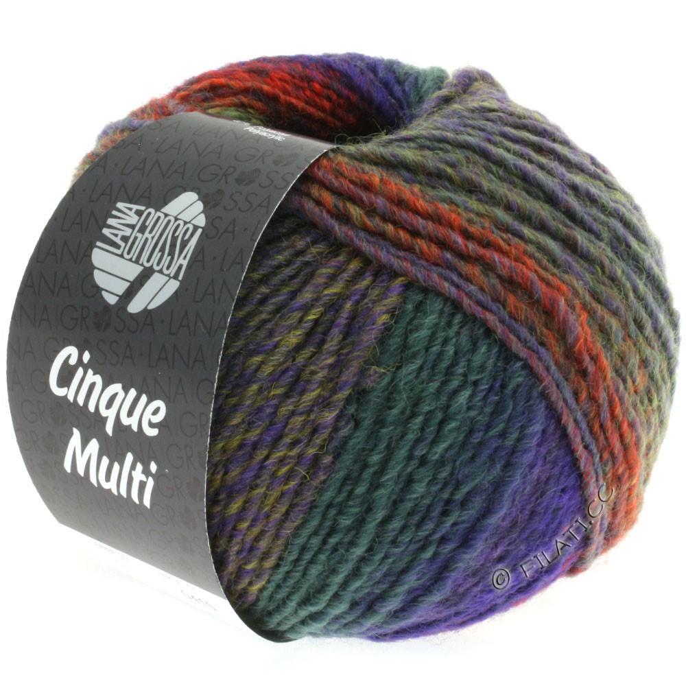 Lana Grossa CINQUE MULTI | 15-blå violet/sennep/lysegrøn/pink/rød/grøn meleret