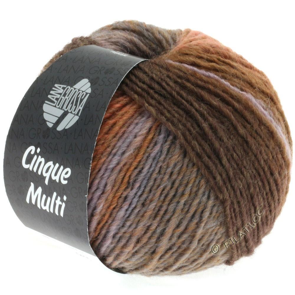 Lana Grossa CINQUE MULTI | 18-mørkebrun/rosentræ/grå/grège/antracit/lilla meleret