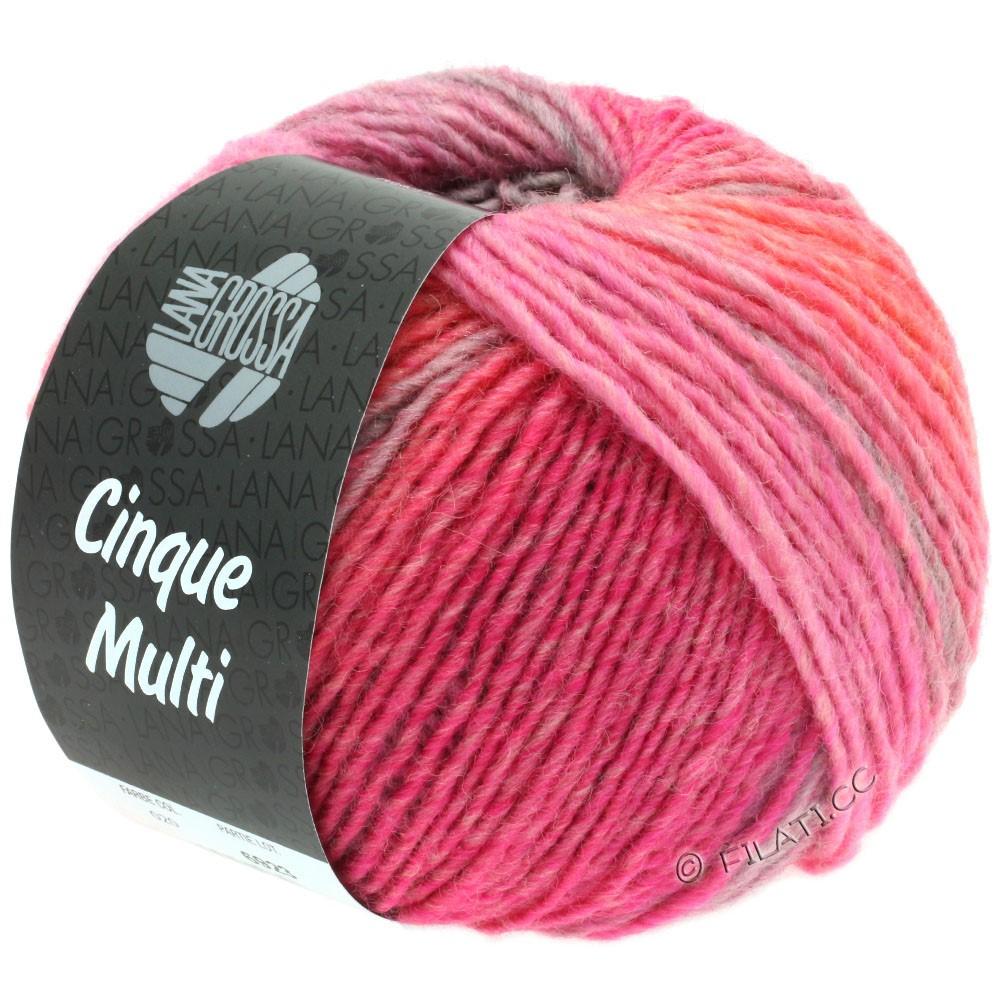 Lana Grossa CINQUE MULTI | 20-lilla/pink/lysegrå/fersken/grå/grå rød meleret