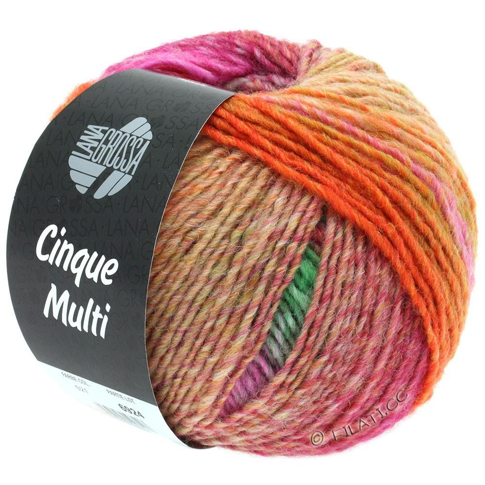 Lana Grossa CINQUE MULTI | 21-vinrød/orange/gulgrøn/pink/hvid/grøn/fersken meleret