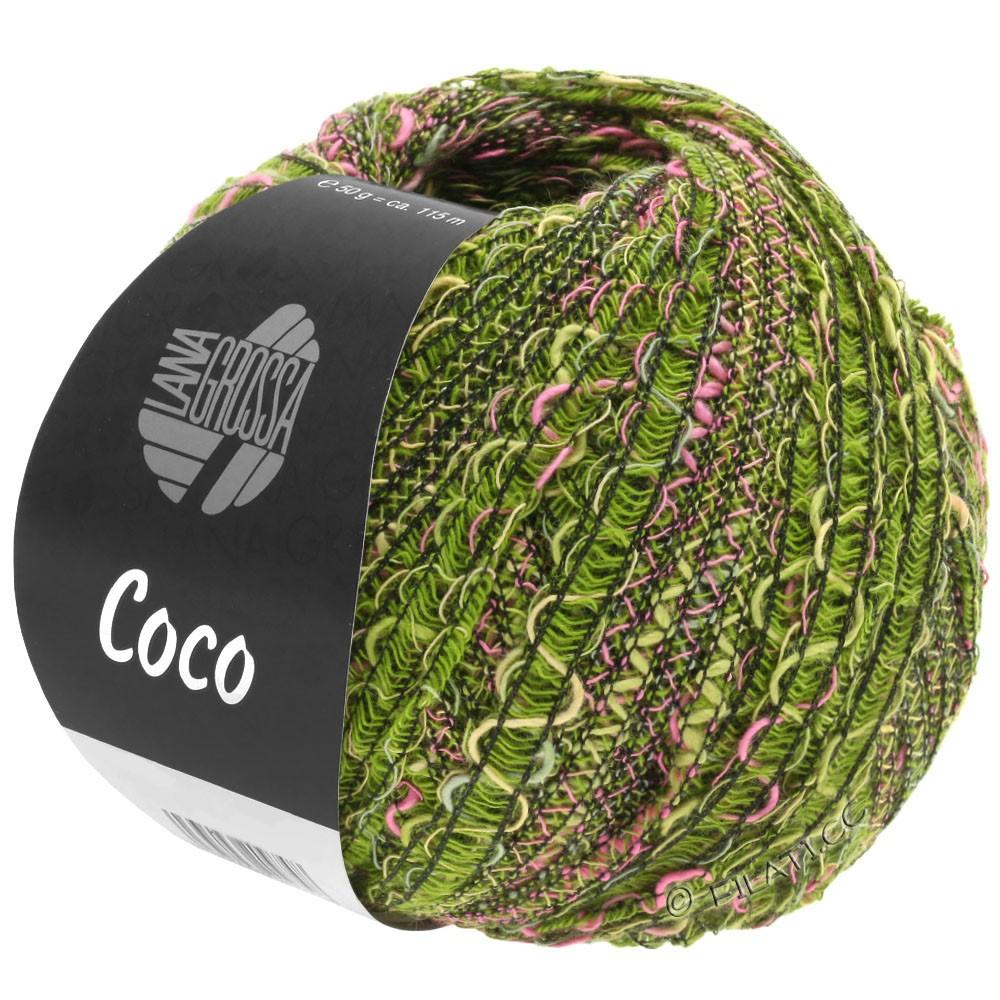 Lana Grossa COCO | 16-oliven/pink/mørkegrøn