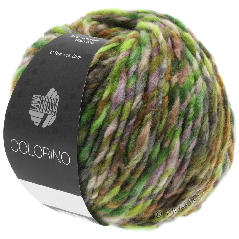 Lana Grossa COLORINO | 08-grøn/mørkebrun/citron/petrol