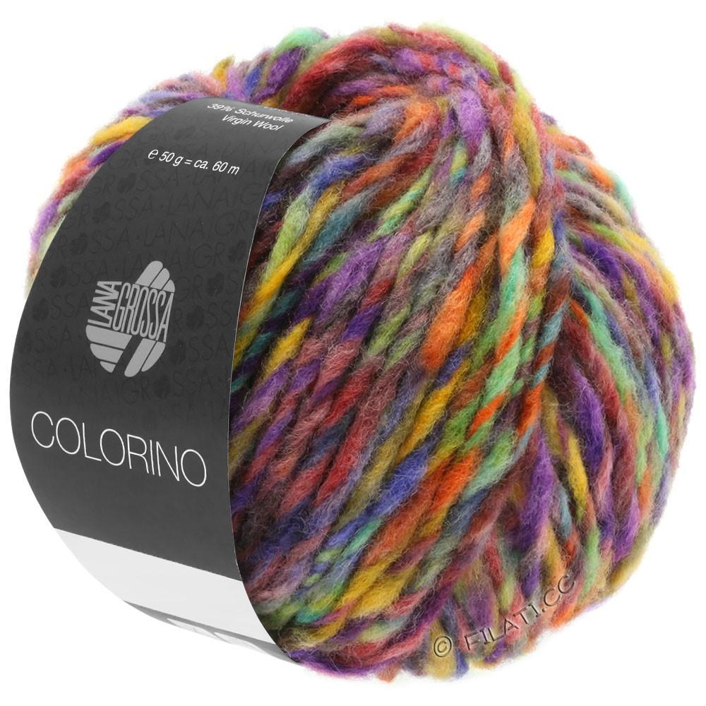 Lana Grossa COLORINO | 09-rødviolet/blå violet/petrol/okker/mørkebrun