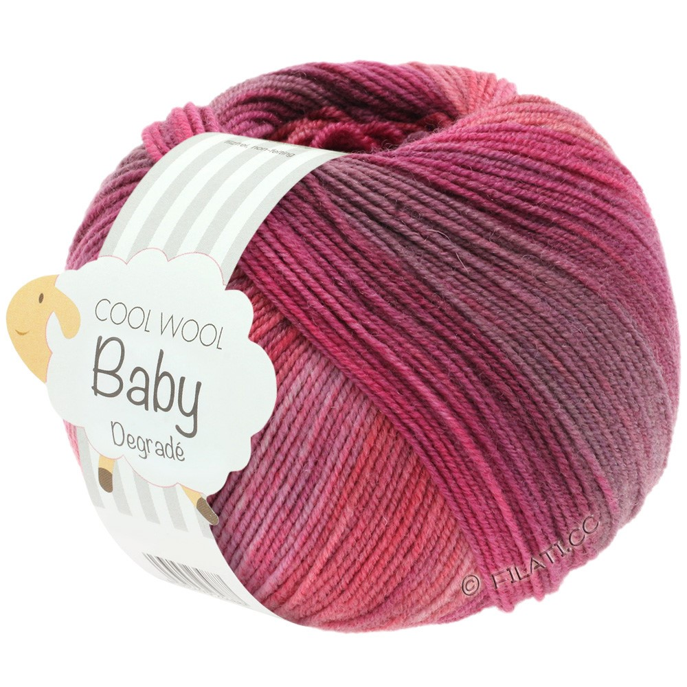 Lana Grossa COOL WOOL Baby Degradé | 507-bær/antikviolet/hindbær