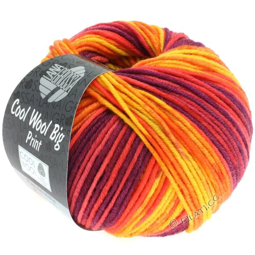 Lana Grossa COOL WOOL Big Uni/Melange/Print | 3007-gul/orange/rød/rødviolet