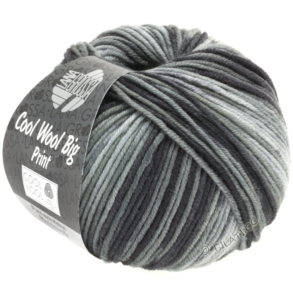 Lana Grossa COOL WOOL Big Uni/Melange/Print | 3008-grå/mørkegrå/antracit