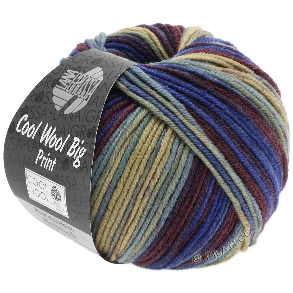 Lana Grossa COOL WOOL Big Uni/Melange/Print | 3010-beige/lyseblå/marine/vinrød/blå violet