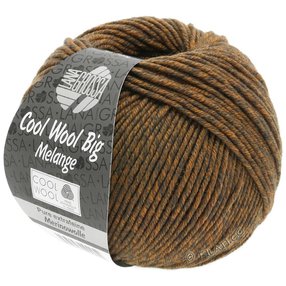 Lana Grossa COOL WOOL Big  Uni/Melange/Print | 0338-gråbrun/orange meleret