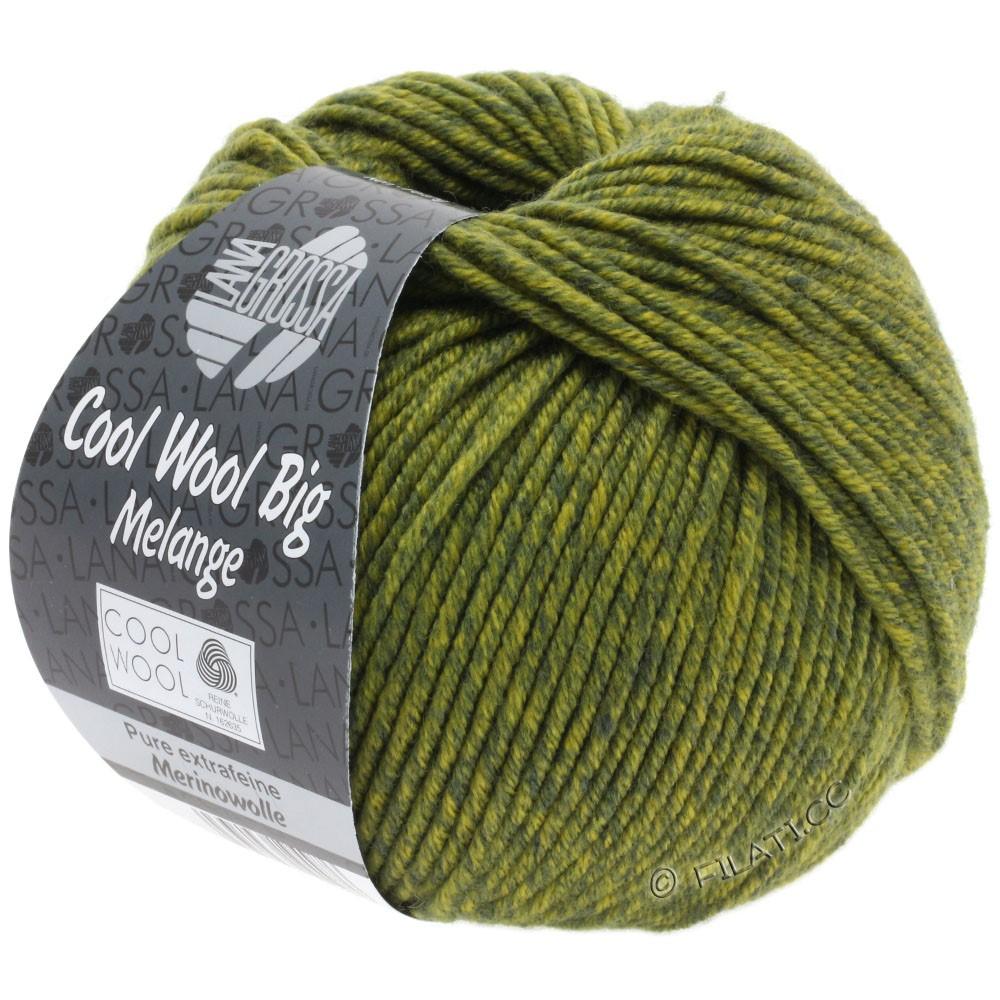 Lana Grossa COOL WOOL Big  Uni/Melange | 0340-mørkoliven/olivengul meleret