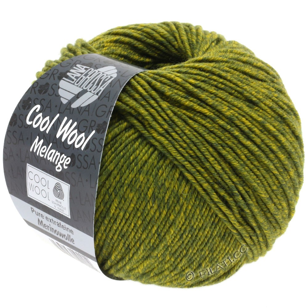 Lana Grossa COOL WOOL  Uni/Melange/Print/Degradé/Neon | 0140-mørkoliven/olivengul meleret