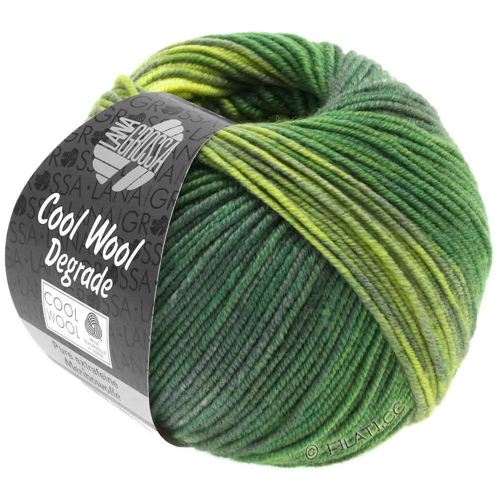 Lana Grossa COOL WOOL  Uni/Melange/Print/Degradé/Neon   6011-gulgrøn/mørkegrøn/grågrøn