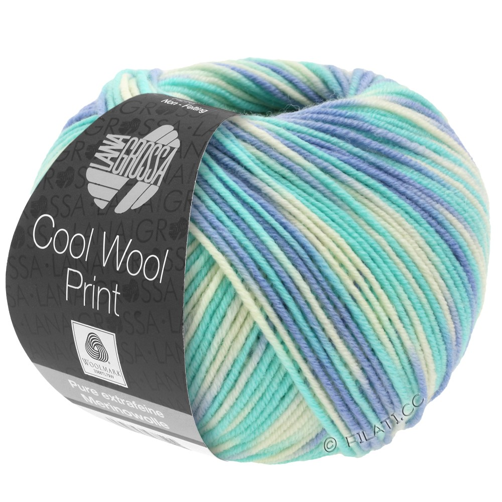 Lana Grossa COOL WOOL  Uni/Melange/Print/Neon | 728-himmelblå/lyseturkis/natur