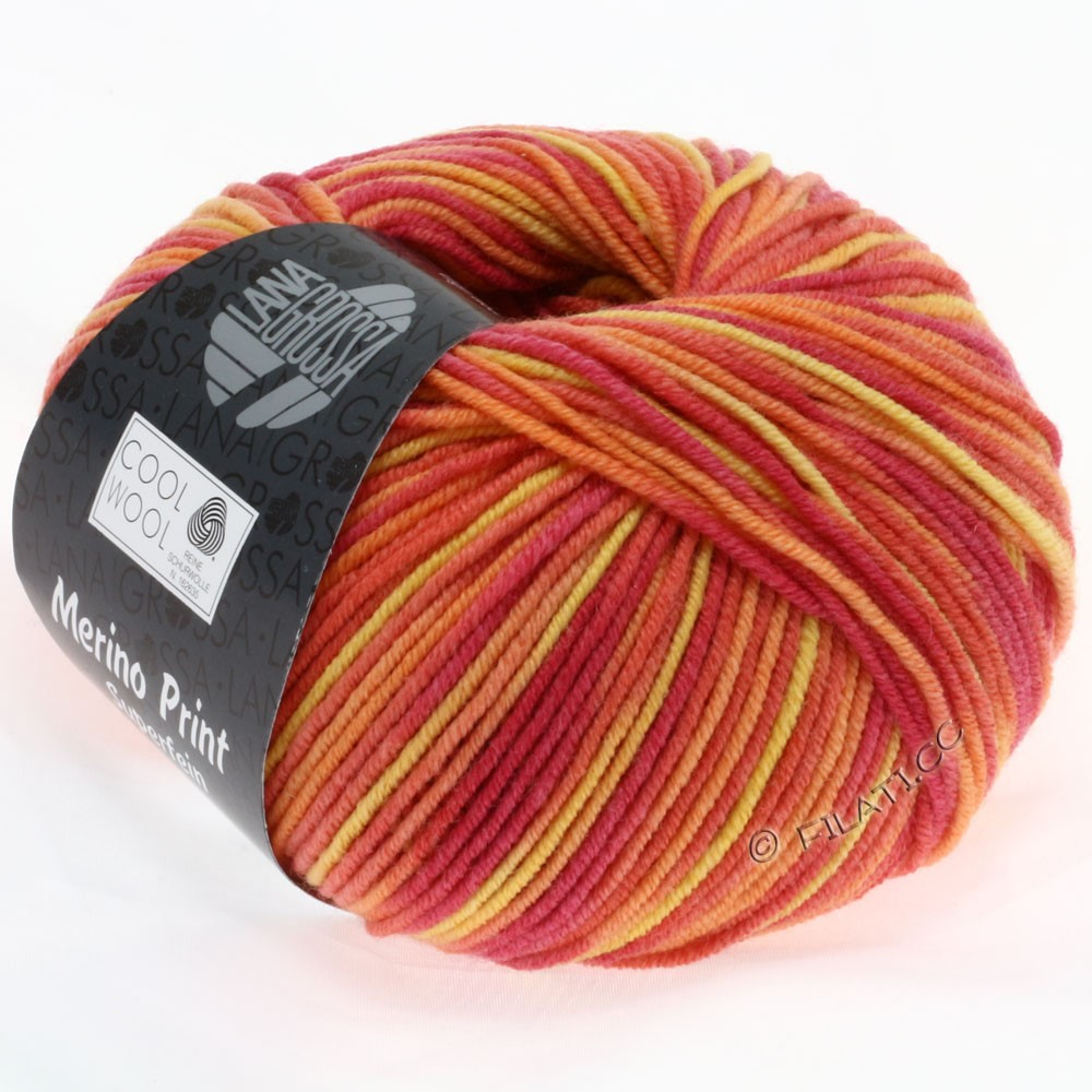 Lana Grossa COOL WOOL  Uni/Melange/Print/Degradé/Neon   755-hindbær/orange/gul