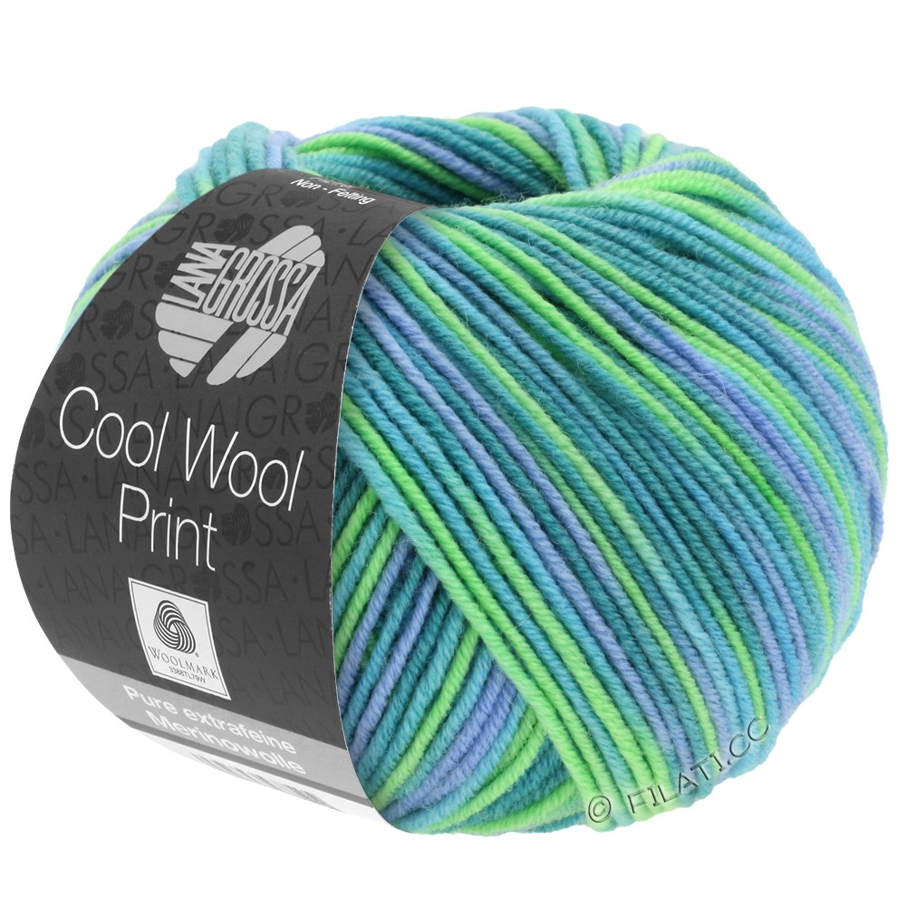 Lana Grossa COOL WOOL  Uni/Melange/Print/Neon | 757-turkis/petrol/himmelblå/lysegrøn