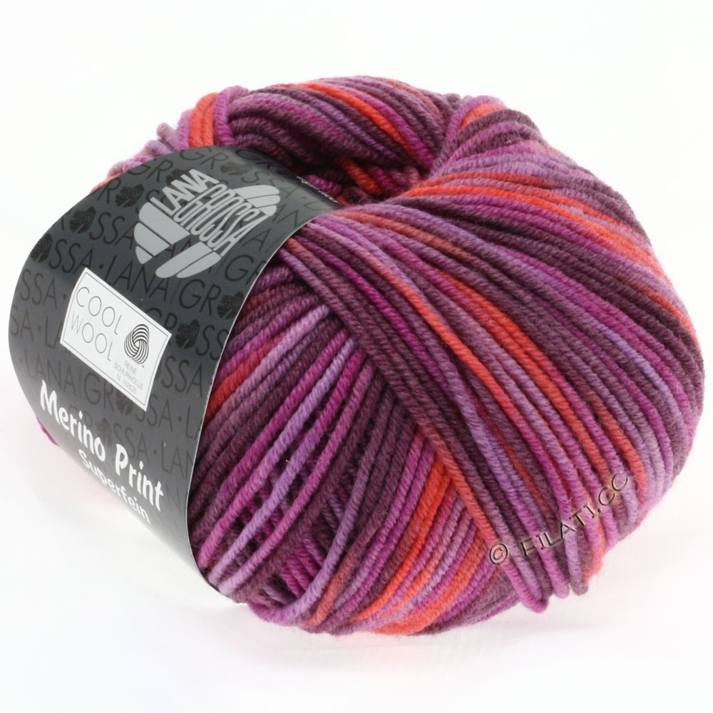 Lana Grossa COOL WOOL  Uni/Melange/Print/Degradé/Neon | 787-cyklamen/koral/lilla/brombær